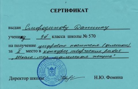 Сертификат - Елена Владимировна Новикова