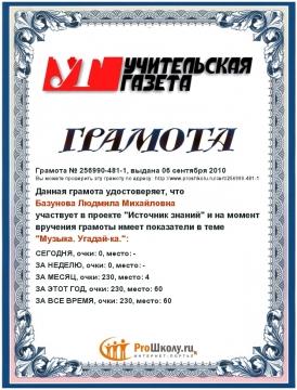 моя грамота - Людмила Михайловна Базунова