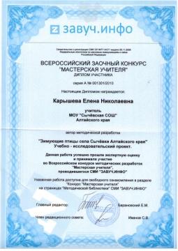 диплом участника Всероссийского конкурса - Елена Николаевна Карышева