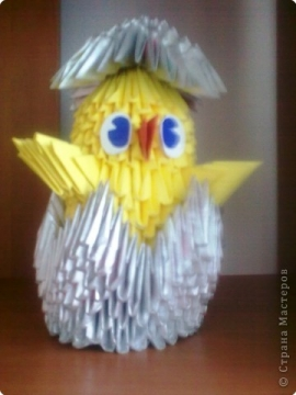 Техника: Оригами модульное Цыплёнок.  Этого цыплёнка собрала одна из моих учениц.  Возможно, работа ещё несовершенна...
