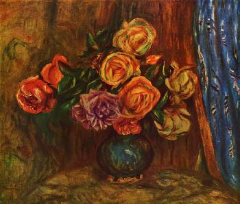 Розы на фоне синего занавеса - Татьяна ТЕОдоровна Гридина
