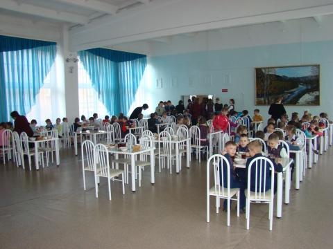 Обеденный зал - муниципальное общеобразовательное учреждение `Средняя общеобразовательная школа № 1` города Заозёрного