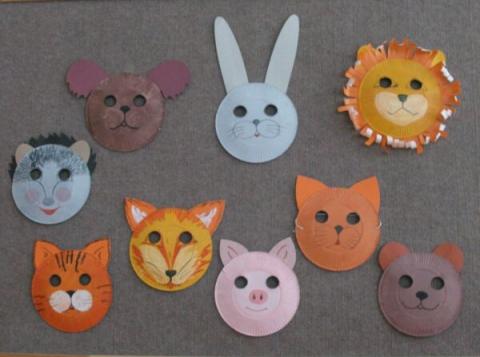 Маски из бумажных тарелочек - Воспитатель  детского сада