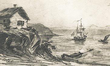 Тамань. 1837 г. Рисунок М. Лермонтова.