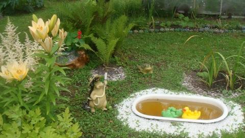 Пруд из детской ванны на даче своими руками фото