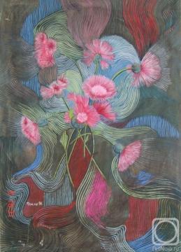 Картина `Розовые васильки`