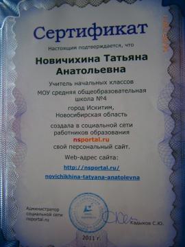 Сертификат о сайте - Татьяна Анатольевна Новичихина