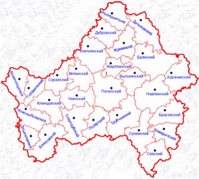 схема брянской области по районам
