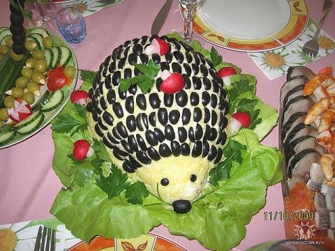 Салат в виде ежика рецепт