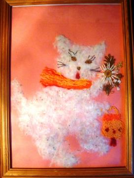 `Беленькая кошечка` (тополиный пух; нить) - Надежда Григорьевна Греф