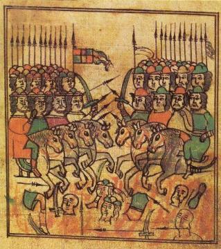 Куликовская Битва, миниатюра летописного свода 16 века.