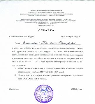 сертификат о прохождении стажировки образец