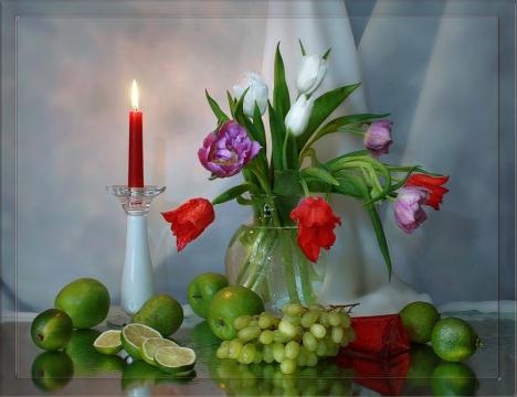 Уютного вечера с тюльпанами