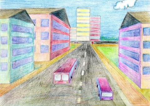 улица в угловой перспективе рисунок
